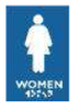 Frost 961 Female Symbol, Braille Emboss, Blue/White, 4x6