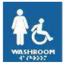 Frost 963 Female Wheelchair Symbol, Braille Emboss, Blue/White, 6x6